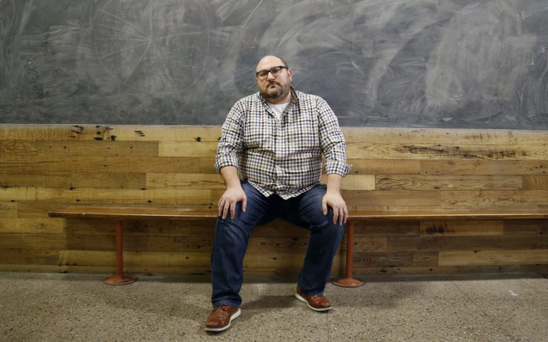 Zack Block, executive director of Repair the World Pittsburgh, urges people to replicate the support they've shown to the Jewish community for marginalized communities. (Photo by Ryan Loew/PublicSource)