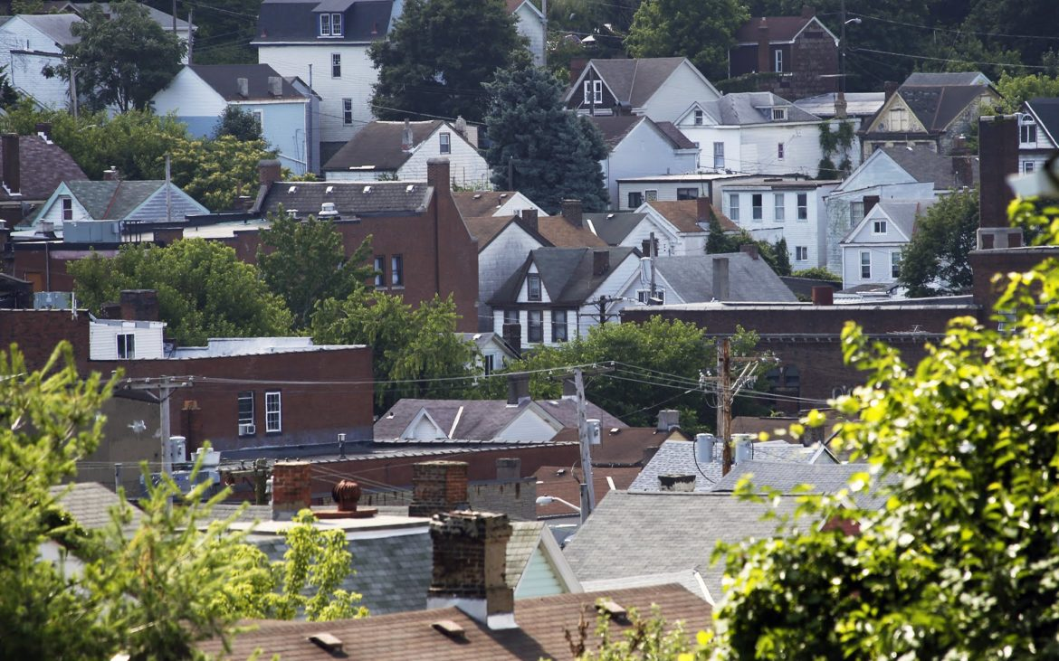 Homes in Allentown. Because Hilltop communities, such as Allentown, Beltzhoover and Knoxville, are primarily composed of single-family houses with low market value, it is unlikely that Inclusionary Zoning would significantly affect the area's housing market or economic development. (Photo by Ryan Loew/PublicSource)