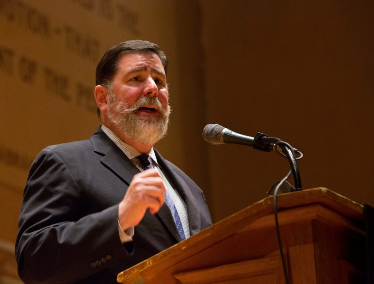 "Pittsburgh Mayor Bill Peduto spoke during the Sunday vigil calling for the eradication of hate. ""We will drive anti-Semitism and the hate of any people back to the basement, on their computer and away from the open discussions and dialogues around this city, around this state and around this country,"" he said."