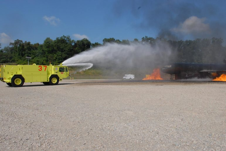 Members of the 171st ARW Fire Department conduct training on July 7, 2007. Firefighting foam has been one of the largest sources of PFAS contamination that could cost the military more than $2 billion to clean up. (U.S. Air Force photo taken by MSgt. Stacey Barkey)