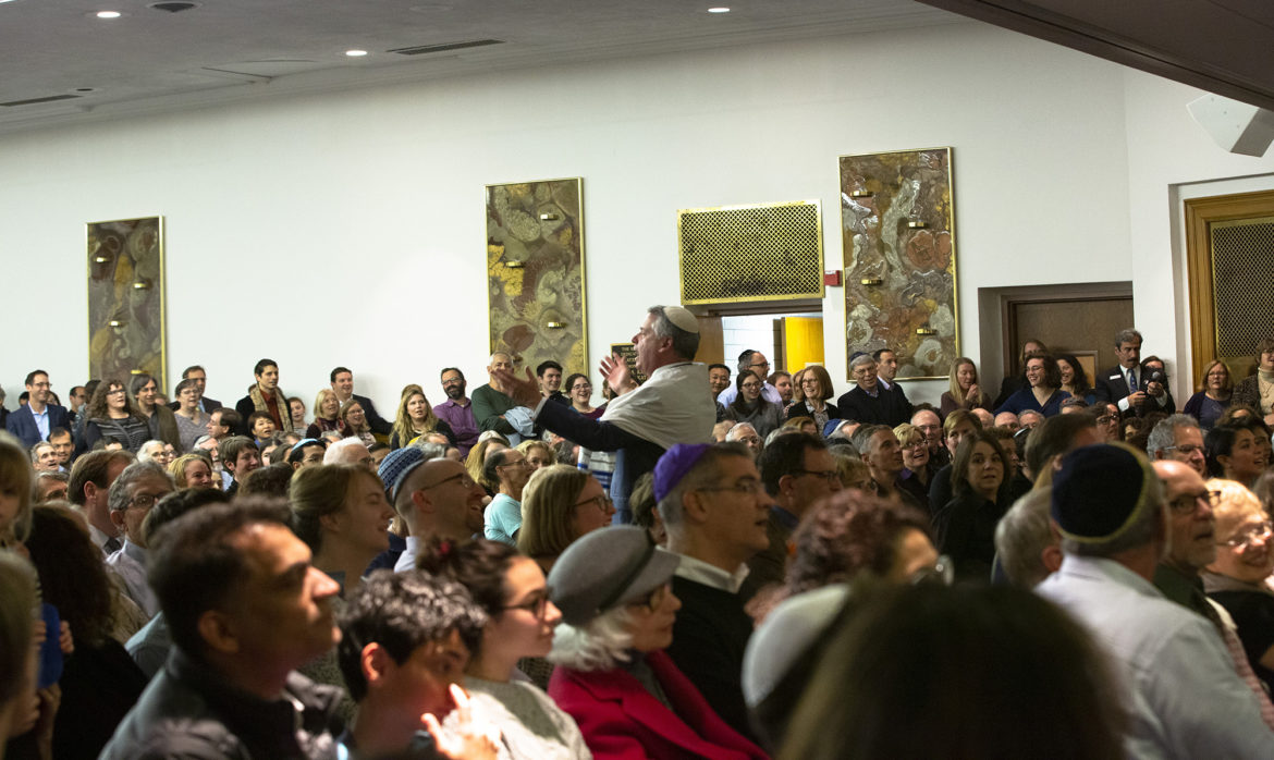 Shabbat services at Temple Sinai on Friday evening, six days after the shooting inside Tree of Life synagogue. (Photo by Heather Mull for PublicSource)