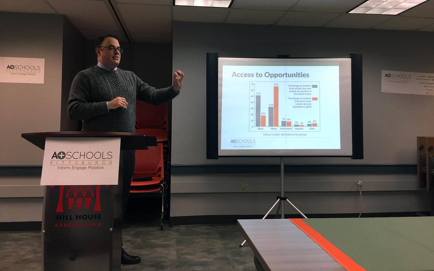 James Fogarty, executive director of A+ Schools, explains the results of the advocacy group's annual report. (Photo by Mary Niederberger/PublicSource)