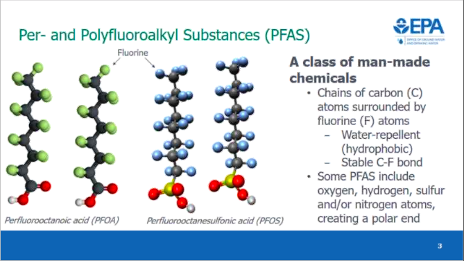 The molecular structure of PFAS chemicals are such that they typically don't break down in nature and can accumulate in the body. (Image courtesy of the EPA)