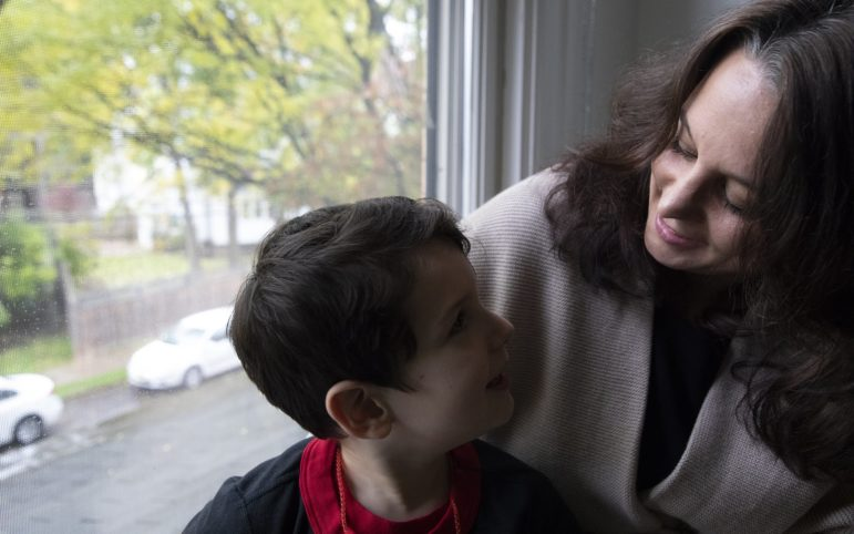 Christine Graziano with her son at their home in Shadyside. (Photo by Kat Procyk/PublicSource)