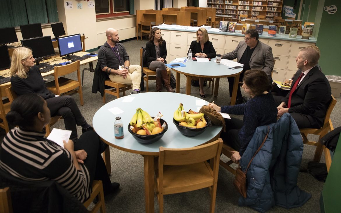 A panel was hosted by Pittsburgh Public Schools at Allderdice High School to discuss how parents could care for themselves and their children after traumatic events on Nov. 19. (Photo by Kat Procyk/PublicSource)