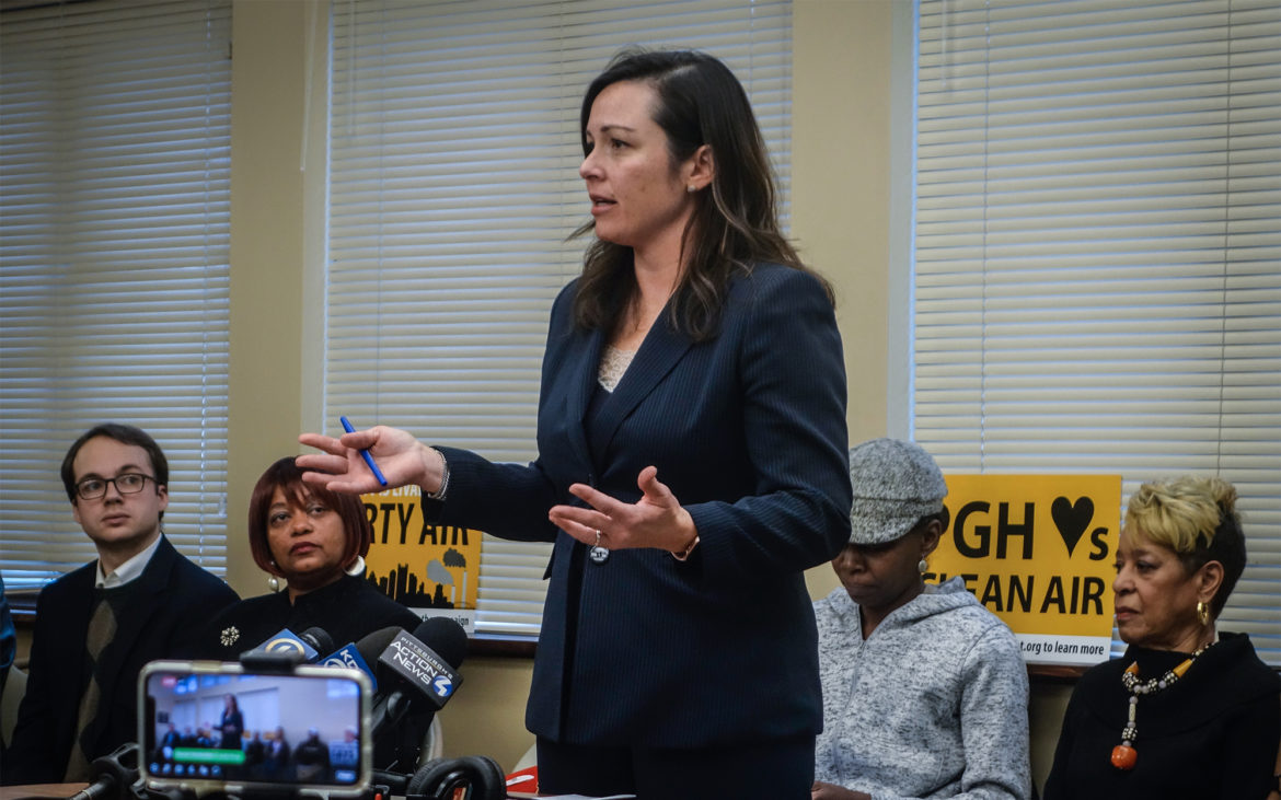 Chelsa Wagner, the county controller, said it is time for the elected leadership at the county to take responsibility for the delayed response to the fire at the Clairton Coke Works. She called the county's response a failure of government to fulfill its most basic function to protect citizens. (Photo by Oliver Morrison/PublicSource)