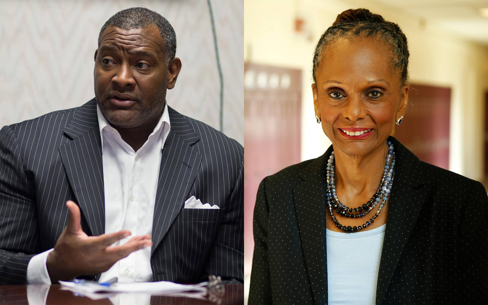 Current superintendent of Pittsburgh Public Schools Anthony Hamlet (left) and former superintendent Linda Lane (right).