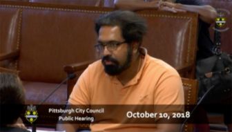 Prasad Margabandhu speaks during a public hearing at Pittsburgh City Council on Oct. 10, 2018. (Screen grab via City Channel Pittsburgh)