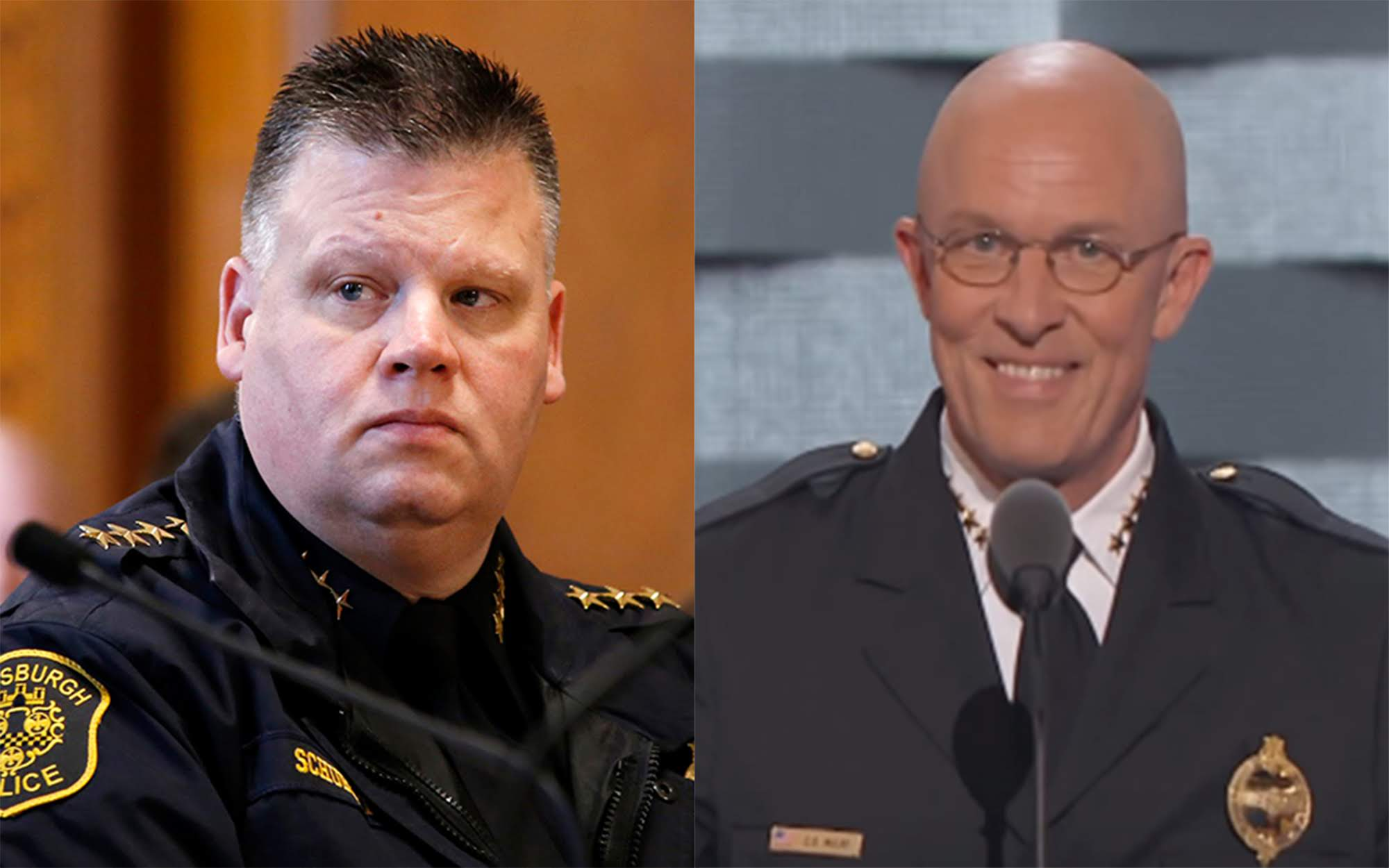 Current Pittsburgh Police Chief Scott Schubert (left) and former Pittsburgh Police Chief Cameron McLay (right).