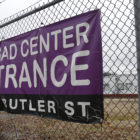 A sign indicates the entrance to the PERSAD Center in Lawrenceville, one of the two PERSAD locations in Western Pa. (Photo by Ryan Loew/PublicSource)