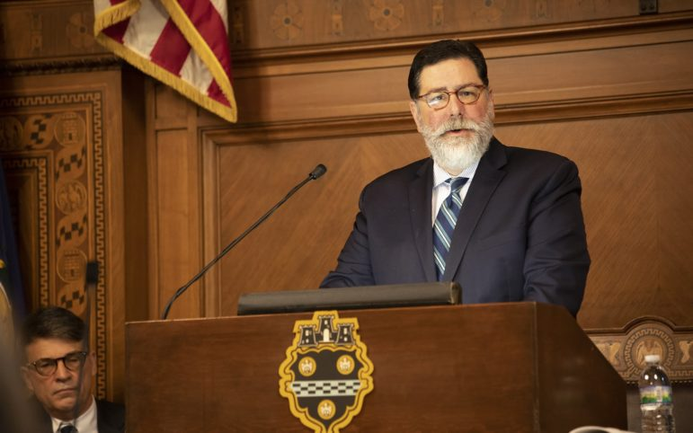 City of Pittsburgh Mayor Bill Peduto at his State of the City address. (Photo by Kat Procyk/PublicSource)