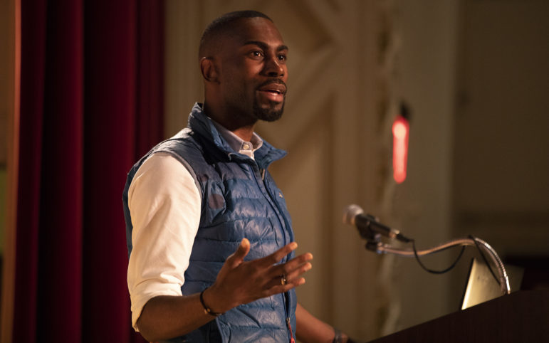 Activist DeRay Mckesson spoke at the Carnegie Library Lecture Hall on Feb. 12 at an event hosted by PublicSource. (Photo by Kat Procyk/PublicSource)