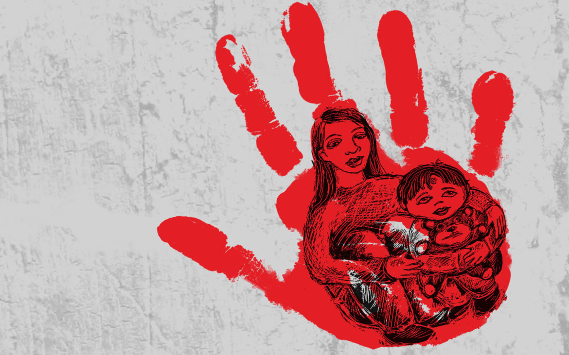 4b9783df23e7e Mother holding child in red hand illustration. (Illustration by Anita  DuFalla PublicSource)