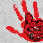Mother holding child in red hand illustration. (Illustration by Anita DuFalla/PublicSource)
