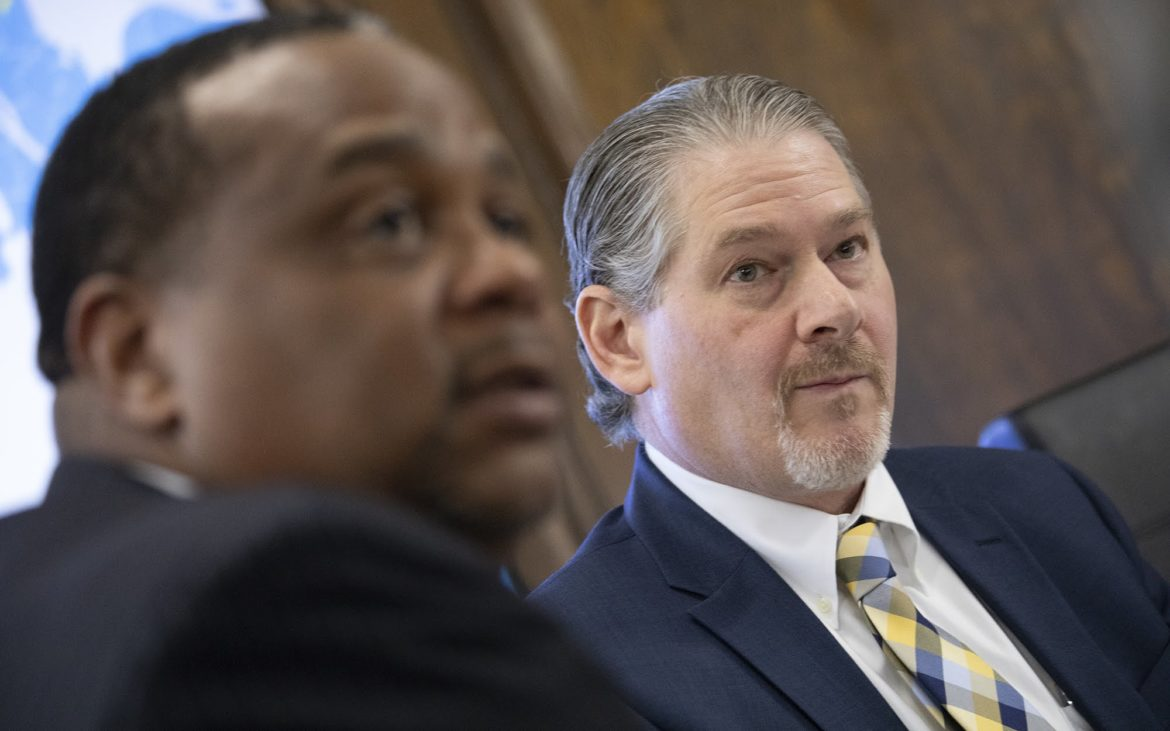 Urban Redevelopment Authority Executive Director Rob Rubinstein (right) and URA board member Rep. Ed Gainey (left). (Photo by Kat Procyk/PublicSource)