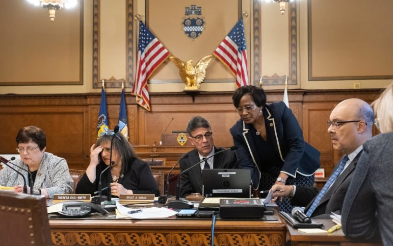 Pittsburgh City Councilman Bruce Kraus confers with Pittsburgh City Clerk Brenda F. Pree on Wednesday. (Photo by Terry Clark/PublicSource)