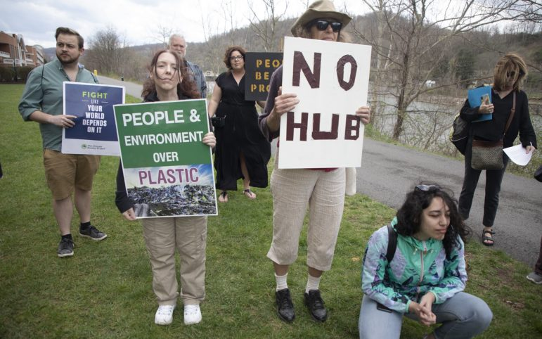 Protestors outside the Marcellus and Manufacturing Development Conference in Morgantown, West Virginia on April 9, 2019. (Photo by Kat Procyk/PublicSource)