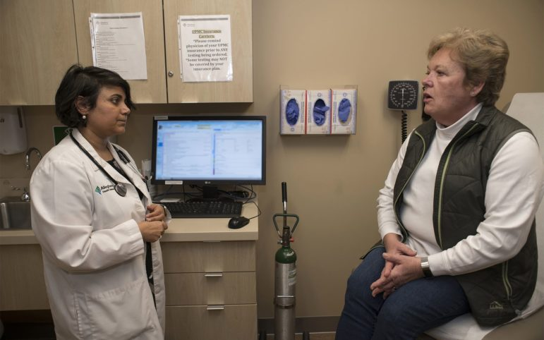 Dr Poornima Rao, (left) an endocrinologist at the Center for Diabetes and Endocrine Health, listens to patient Ann Reale, of Cranberry, during a check up at the Wexford Wellness Pavilion. Reale was diagnosed with Type 2 Diabetes a decade ago. (Photo by Martha Rial/Pittsburgh Magazine)