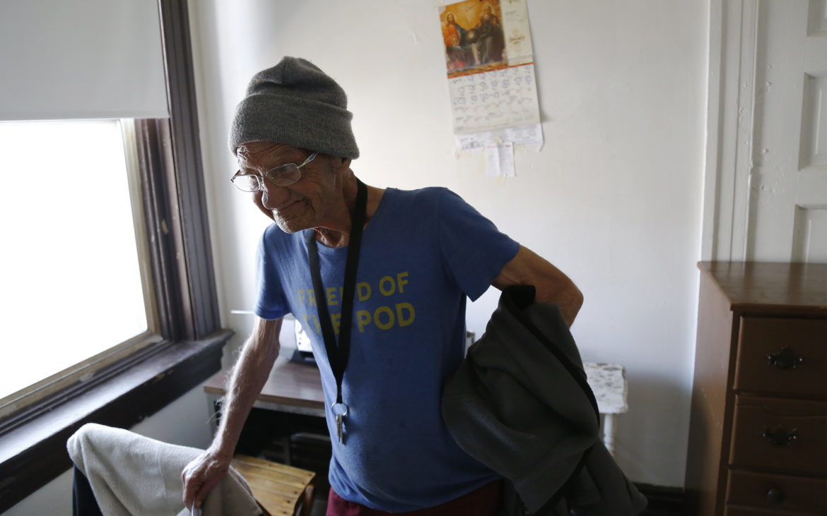 Resident Bobby Hotchkiss said he had been paying $315 per month in rent. With the help of a caseworker, he said he was put on the waiting list for an affordable housing complex Downtown. (Photo by Ryan Loew/PublicSource)