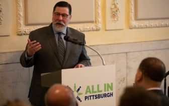 "Bill Peduto, mayor of the city of Pittsburgh, was the final speaker at the two year anniversary of the Equitable Development: The Path to an All-In Pittsburgh report on April 11, 2019. Peduto said Pittsburgh ""took a major step"" on gun violence reflecting on this past week after he signed gun bills into law. (Photo by Kat Procyk/PublicSource)"