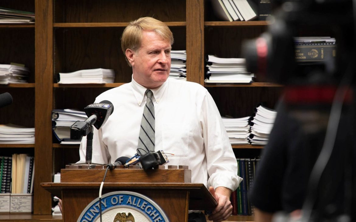 Allegheny County Executive Rich Fitzgerald speaks to the media in November 2018. (Photo by Kat Procyk/PublicSource)