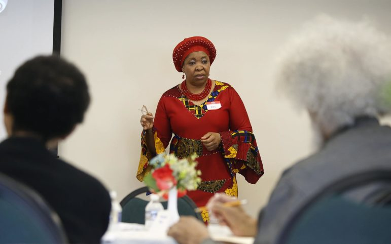 Zita Iwuoha speaks about maternal morality at an April 13, 2019 event.