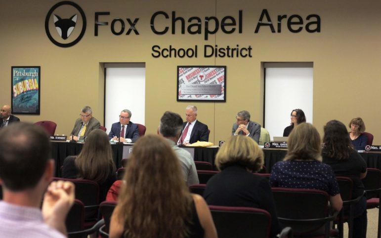 Members of the Fox Chapel school board meet on June 10, 2019. (Photo by Jay Manning/ PublicSource)