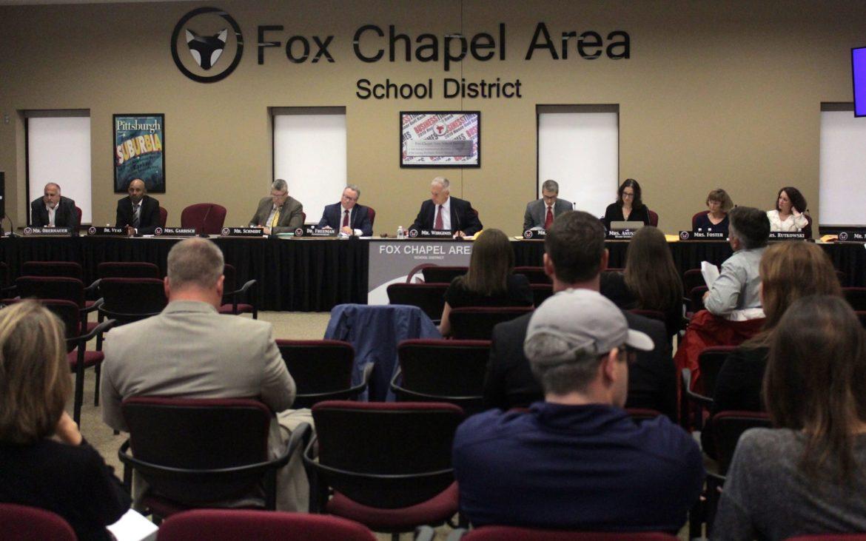 Members of the Fox Chapel Area School District board meet on June 10, 2019. (Photo by Jay Manning/ PublicSource)