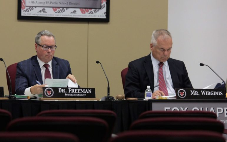 Fox Chapel Area School District Superintendent Gene Freeman and school board President Terry Wirginis pictured at the June 10 meeting of the board. (Photo by Jay Manning/ PublicSource)