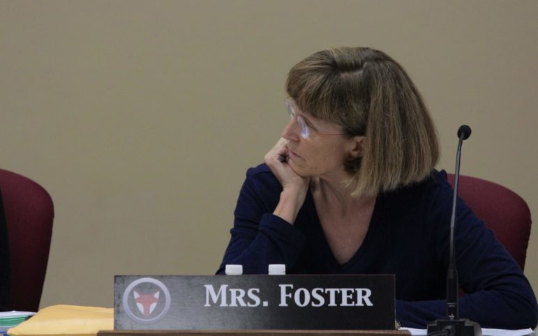 Nancy Foster, vice president of the Fox Chapel Area School District board, questions a proposal from fellow board member Edith Cook during the June 10 meeting of the board. (Photo by Jay Manning/ PublicSource)