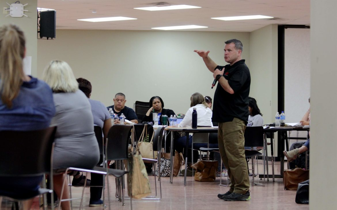 ALICE Trainer, John Lubawski explains proper steps in response to active shooter situations to PPS Administrators (Photo by Jay Manning/PublicSource)