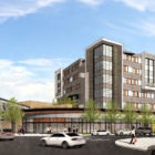 """A rendering of Echo Realty's proposal to transform an East End shopping plaza into """"Shady Hill Center,"""" a mixed-use development. (Image from the Planning Commission)"""