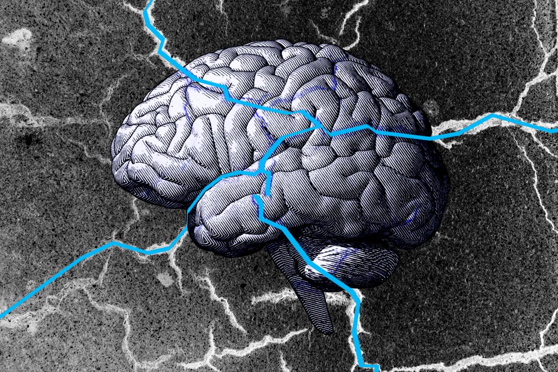 Brain illustration with cracks.
