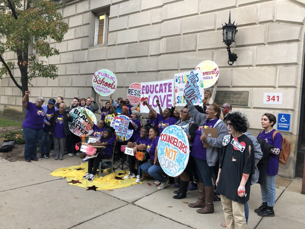 Representatives from social justice organizations Education Rights Network, One Pennsylvania and the ACLU of Pennsylvania rallied before the Pittsburgh Public Schools board meeting on Oct. 28. (Photo by Stephanie Hacke/PublicSource)