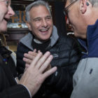 Michael Bartley, Democratic 15th Ward Chair, District Attorney Stephen A. Zappala, Jr., and Mike Manko, talk as Zappala arrived at his election night party, Tuesday, Nov. 5, 2019, at Cupka's Cafe 2 on the South Side. (Photo by Rebecca Droke/PublicSource)