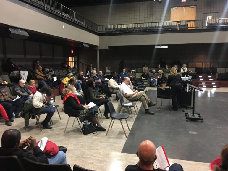 About 65 residents showed up Thursday evening to hear Shell representatives speak about job opportunities and the environmental impact of the cracker plant under construction in Beaver County. (Photo by Oliver Morrison/PublicSource)