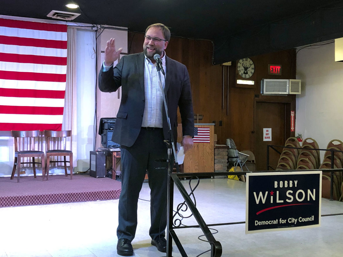 Bobby Wilson addresses his supporters at his post-election celebration at the Elks Lodge in the North Side. (Photo by Juliette Rihl/PublicSource)
