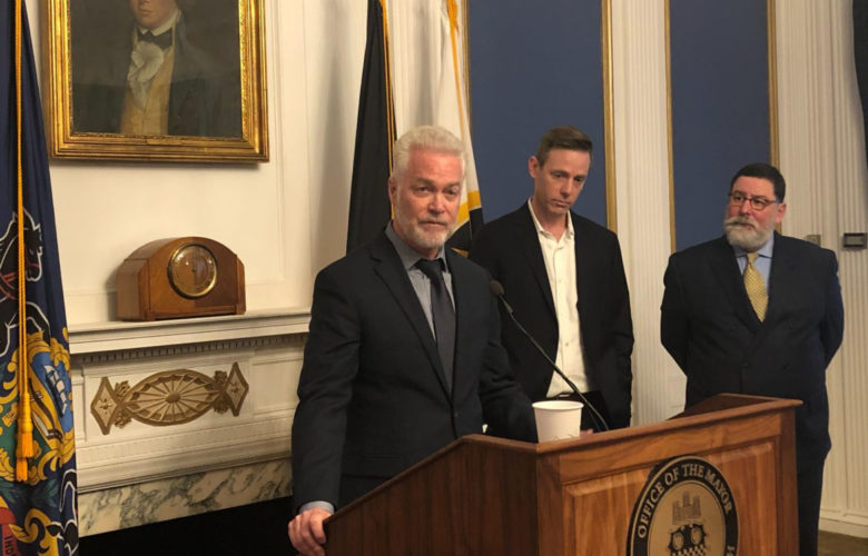 Greg Flisram, newly announced as the next leader of the Urban Redevelopment Authority, speaking at a Nov. 14, 2019 press conference with URA board chair Sam Williamson and Pittsburgh Mayor Bill Peduto. (Photo by Juliette Rihl/PublicSource)