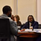 Housing Opportunity Fund advisory board members Derrick Tillman (left), Joanna Deming, Knowledge Build Hudson and Megan Winters at Tuesday's meeting on the fund's 2020 draft allocations budget. (Photo by Juliette Rihl/PublicSource)