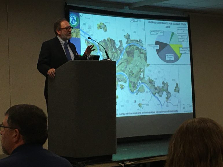 Tim Prevost, the manager of the wet weather programs at ALCOSAN, describes a new study where ALCOSAN tried to locate the very best spots for using green infrastructure to reduce sewage overflows. (Photo by Oliver Morrison/PublicSource)