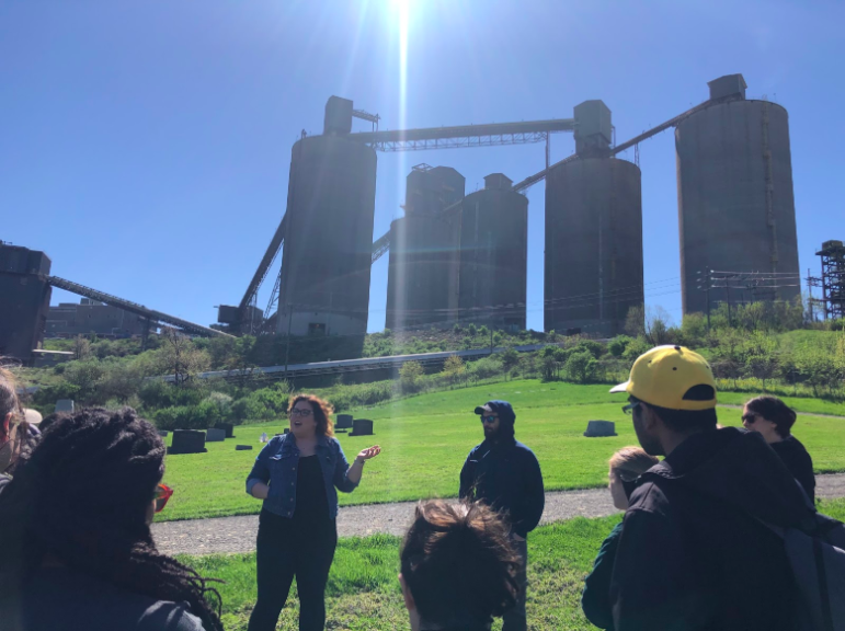 Sarah Martik (left) and Nick Hood with the Center for Coalfield Justice lead Carnegie Mellon University students on a tour of coal mining and hydraulic fracturing sites in Southwestern Pennsylvania in April 2019. (Photo courtesy of Noah Theriault)