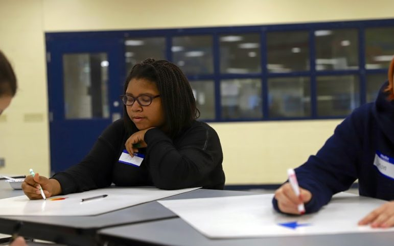 AG Miles-Flurry draws during the GSA and Stand Together Team joint meeting at West Mifflin Area High School. (Photo by Jay Manning/PublicSource)