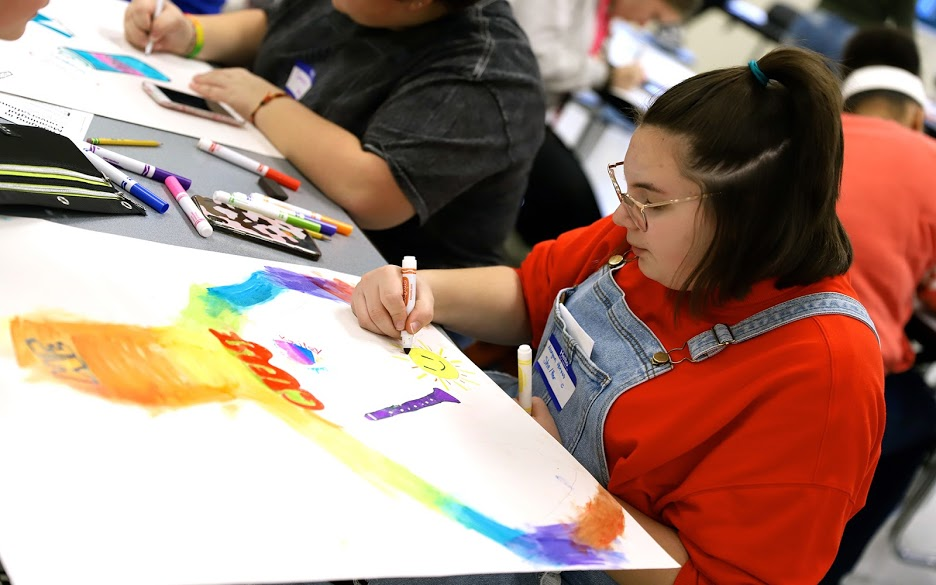 young person drawing