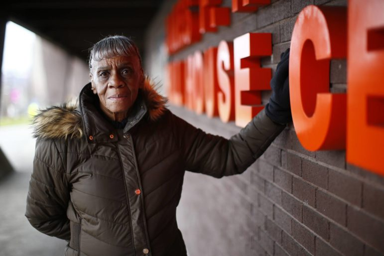 Melvie Blackwell, a former employee of the Hill House Association, poses for a portrait in front of the James F. Henry Hill House Center. (Photo by Jared Wickerham/Pittsburgh City Paper)