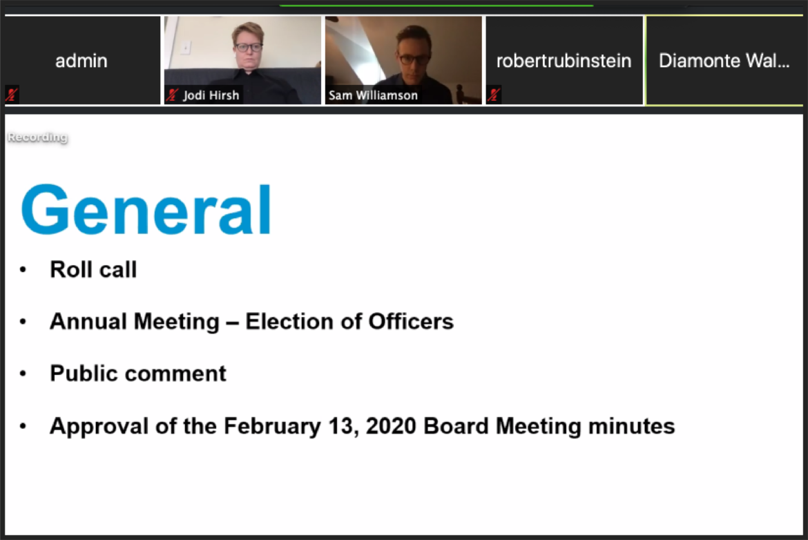 A screenshot of the Urban Redevelopment Authority's March 19, 2020 board meeting, held virtually to allow for social distancing.