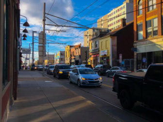The Warrington Avenue business district in December 2019. (Aaron Sukenik/The Hilltop Alliance)