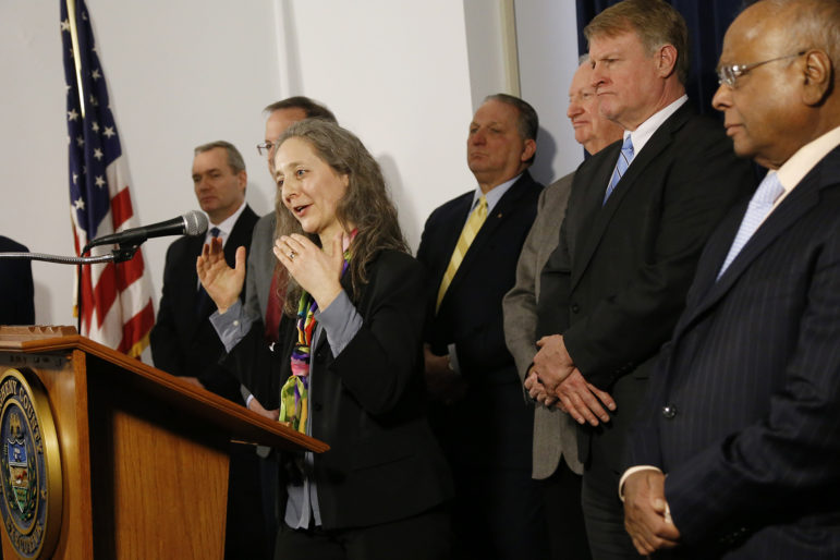Dr. Debra Bogen, a local doctor and professor at UPMC Children's Hospital of Pittsburgh, being introduced as Allegheny County's new health director. (Photo by Ryan Loew/PublicSource)
