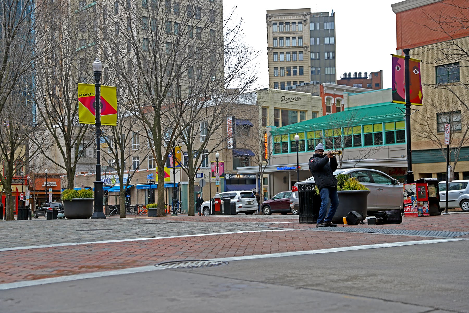 Darryl Leeper plays music live in an empty Market Square on March 17, 2020. (Photo by Jay Manning/PublicSource)