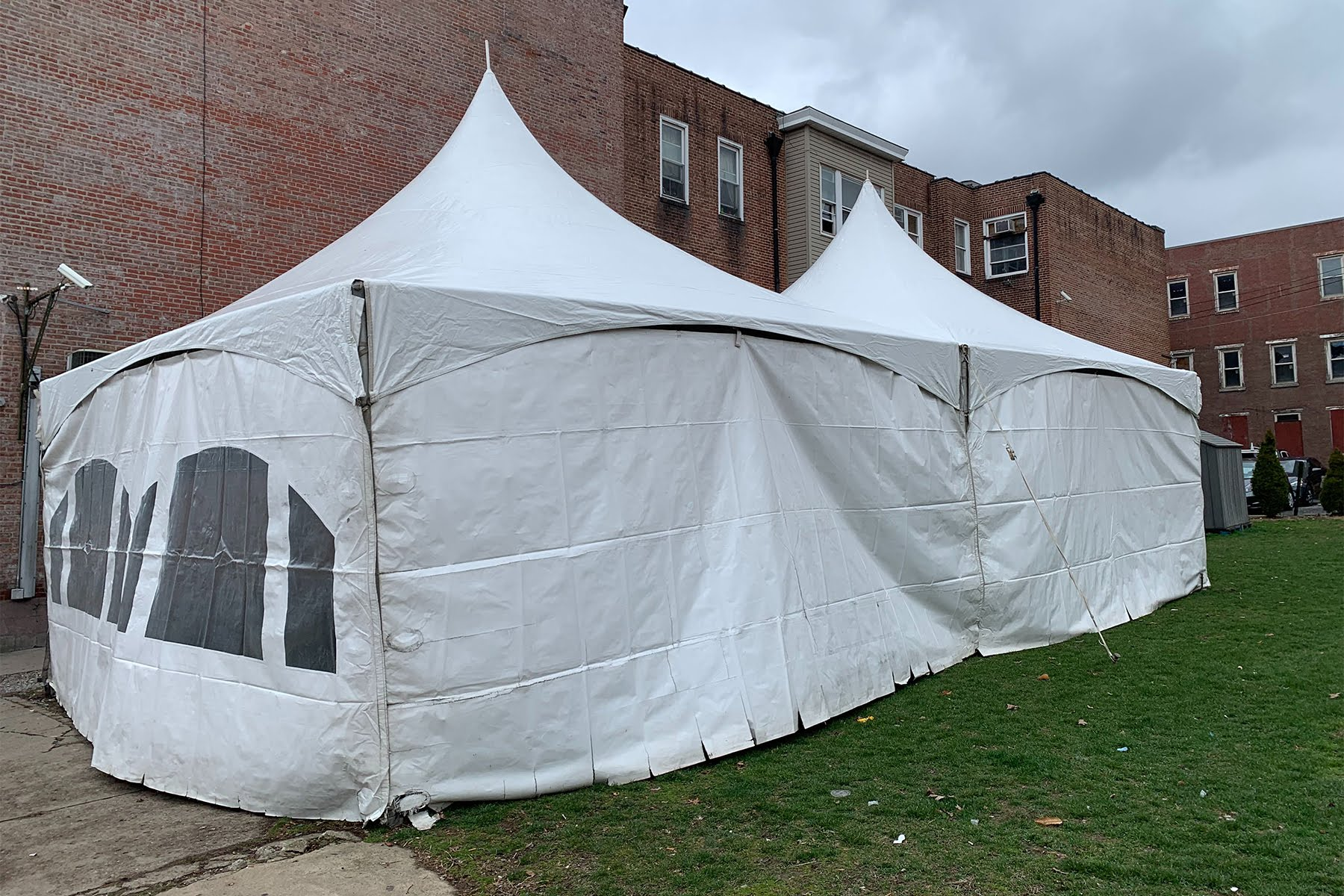 A tent set up to provide daytime shelter for homeless people, at the Light of Life Rescue Mission, in the Central North Side. (Photo courtesy of Doug Smith, Light of Life)