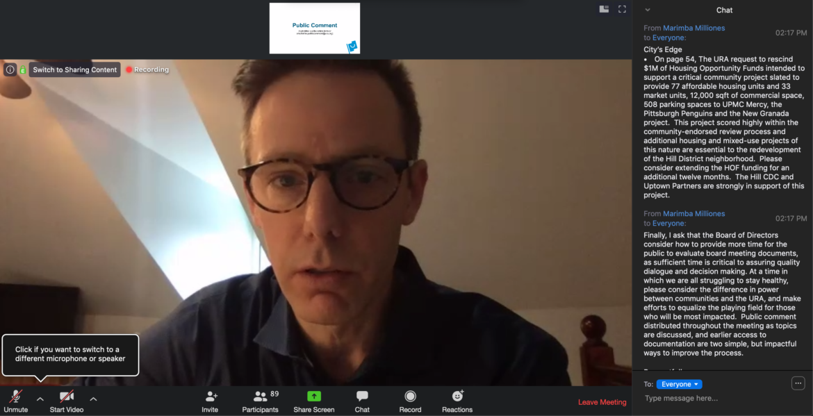 A screenshot of Sam Williamson, chair of the board of the Urban Redevelopment Authority, conducting a meeting of the board by video conference on March 19, 2020.
